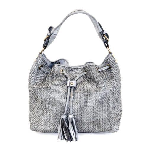 ELENA Bucket Bag With Tassels Light Grey