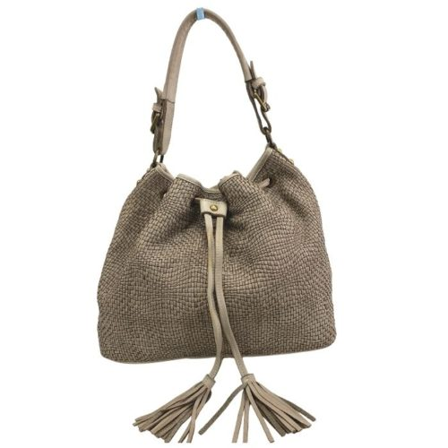 ELENA Bucket Bag With Tassels Taupe