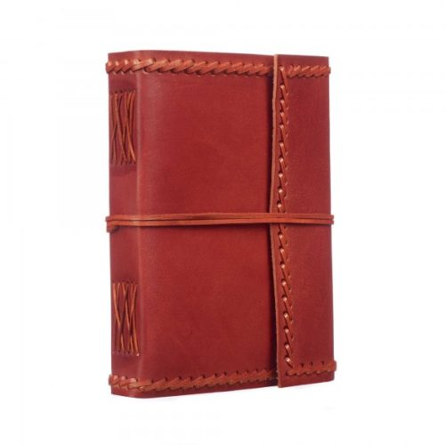 Fair Trade Large Stitched Leather Journal Maroon