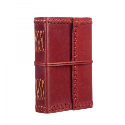 Fair Trade Medium Stitched Leather Journal Maroon