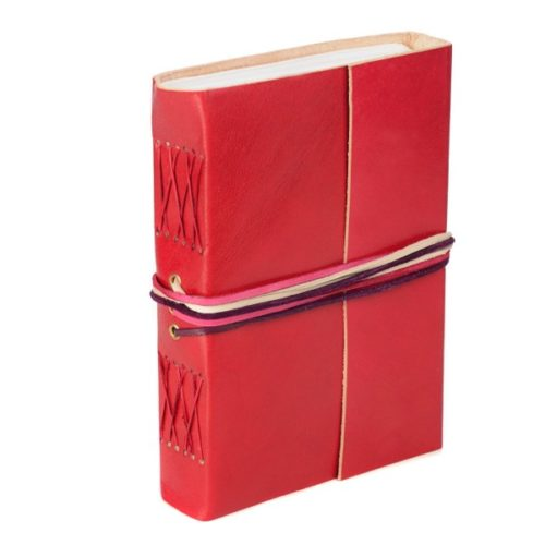 Fair Trade 3-String Leather Journal Red
