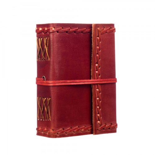 Fair Trade Small Stitched Leather Journal Maroon