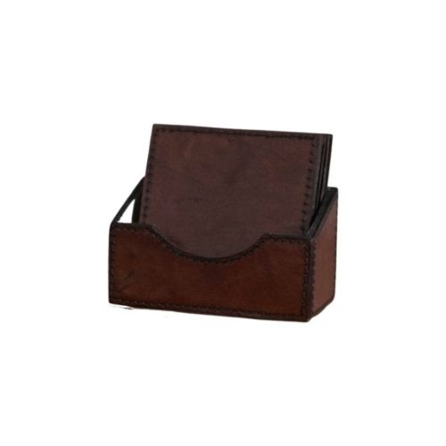 Square Leather Coasters And Holder