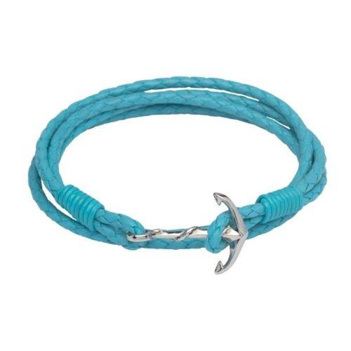 Unique & Co Women's Leather Bracelet With Anchor Clasp Turquoise