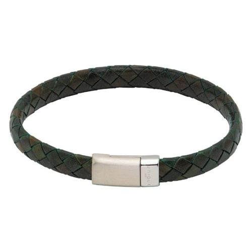 Unique & Co Men's Leather Bracelet And Stainless Steel Fastening – Dark Green
