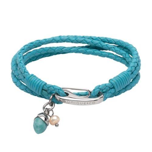 Unique & Co Women's Leather Bracelet With Acorn Charm Turquoise