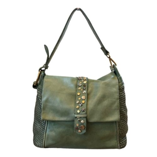 Priscilla Shoulder Bag Narrow Weave And Studded Detail Army Green