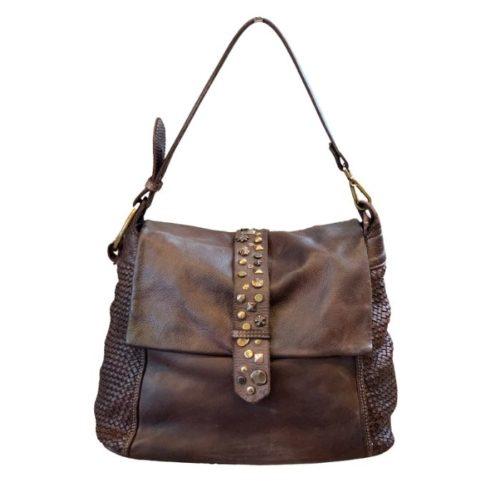 Priscilla Shoulder Bag Narrow Weave And Studded Detail Brown