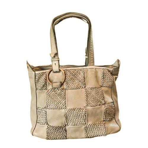 MARINA Chequer Woven Hand Bag Beige