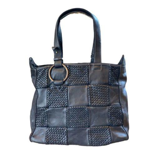 MARINA Chequer Woven Hand Bag Black