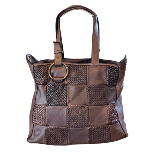 MARINA Chequer Woven Hand Bag Brown
