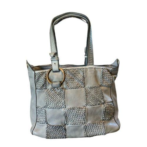 MARINA Chequer Woven Hand Bag Light Grey