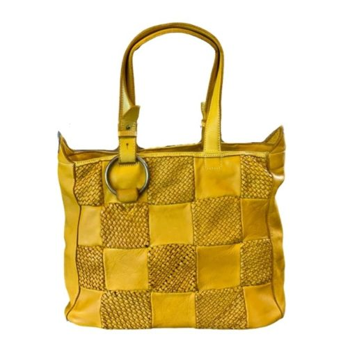 MARINA Chequer Woven Hand Bag Mustard