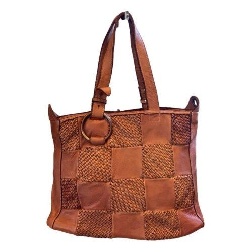MARINA Chequer Woven Hand Bag Tan
