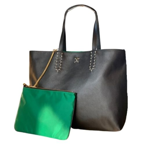PATTY BIG Reversible Tote Bag Black/Emerald