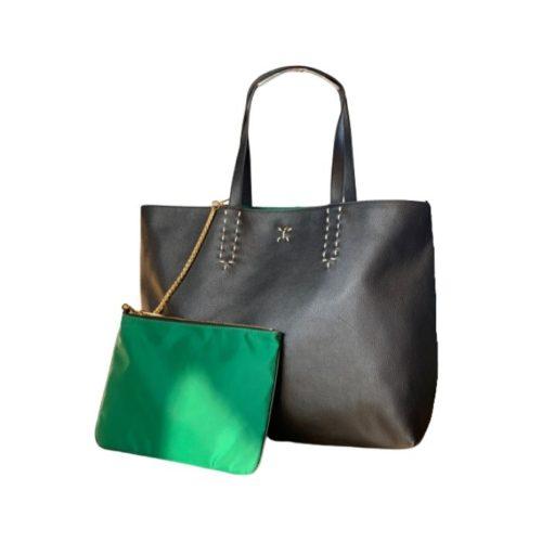 PATTY Reversible Tote Bag Black/Emerald