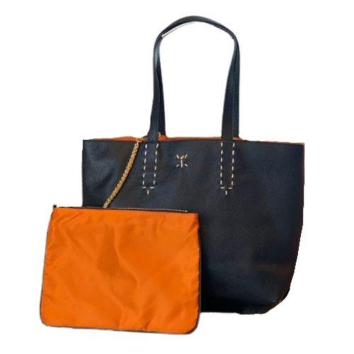 PATTY BIG Reversible Tote Bag Black/Orange