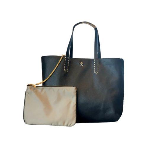 PATTY Reversible Tote Bag Black/Taupe