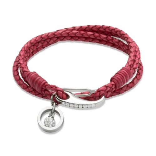 Unique & Co Women's Leather Bracelet With Crystal Ball Charm Hot Pink