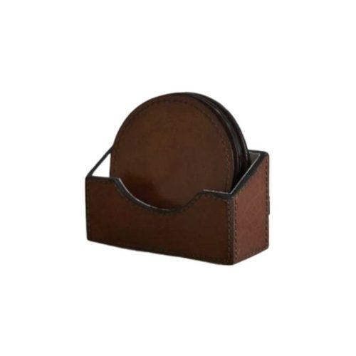 Round Leather Coasters And Holder