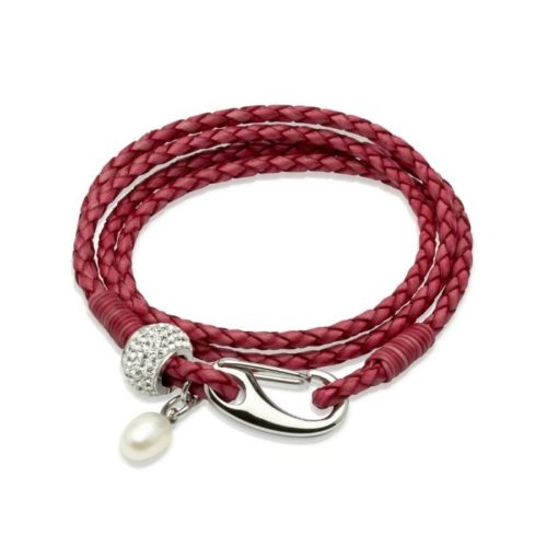 Unique & Co Women's Leather Bracelet With Crystal Element & Pearl Hot Pink