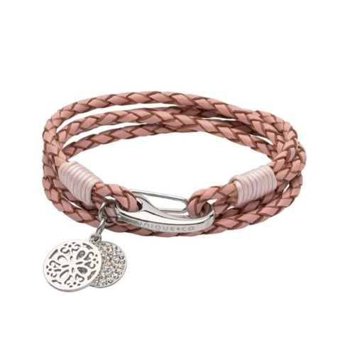 Unique & Co Women's Leather Bracelet With Round Charms Pink