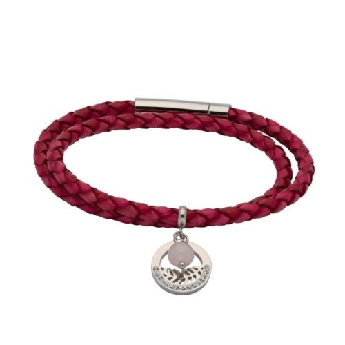 Unique & Co Women's Leather Bracelet With Fern Charm Hot Pink