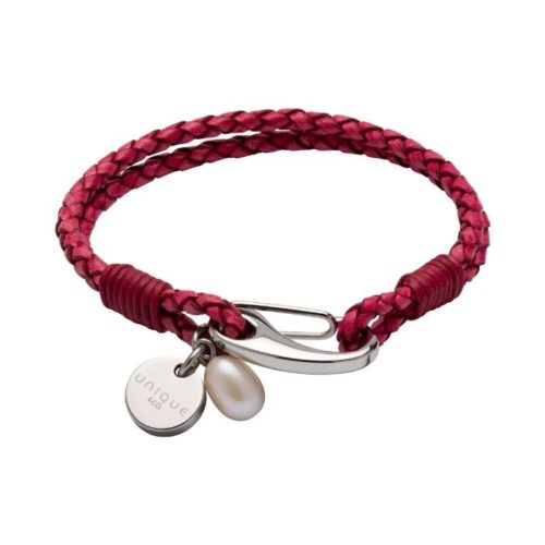 Unique & Co Women's Leather Bracelet With Pearl Charm Hot Pink