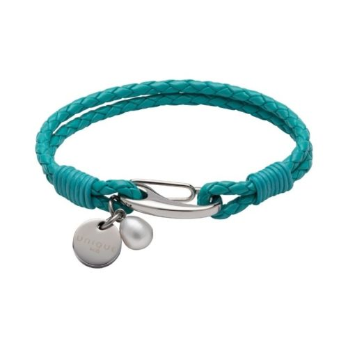Unique & Co Women's Leather Bracelet With Pearl Charm Turquoise