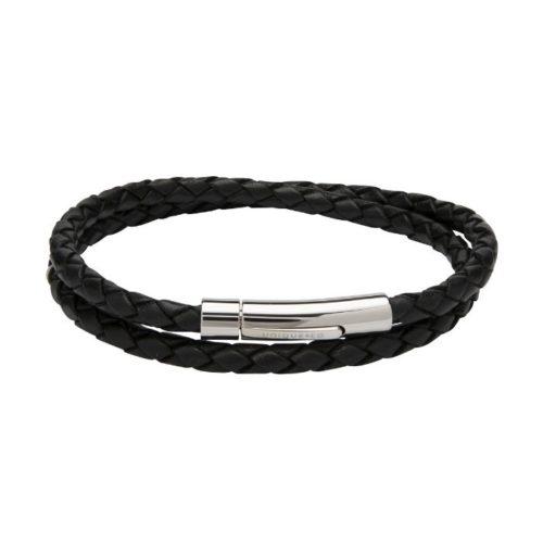 Unique & Co Women's Leather Bracelet With Steel Clasp Black