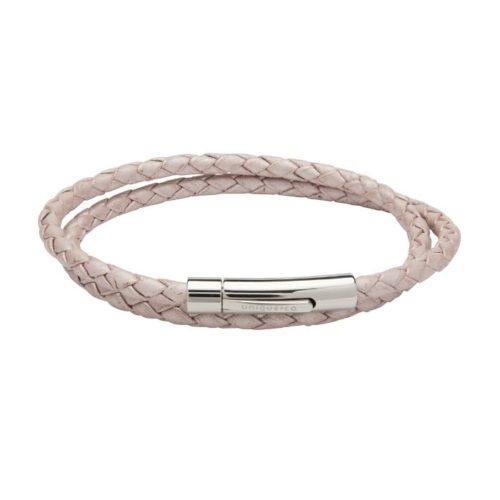 Unique & Co Women's Leather Bracelet With Steel Clasp Metallic Pink