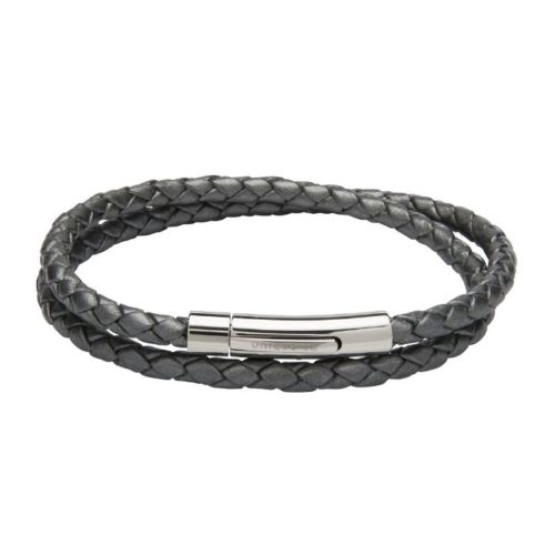 Unique & Co Women's Leather Bracelet With Steel Clasp Silver Grey