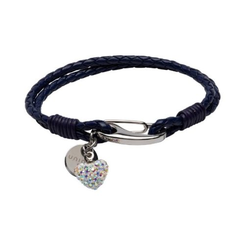 Unique & Co Women's Leather Bracelet With Crystal Heart And Charm Violet