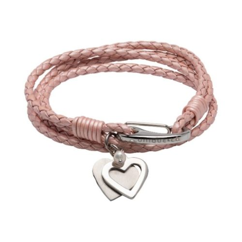 Unique & Co Women's Leather Bracelet With Hearts And Metallic Pink