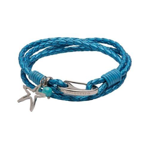 Unique & Co Women's Leather Bracelet With Star Charm Metallic Blue