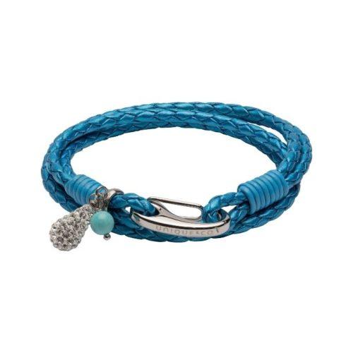 Unique & Co Women's Leather Bracelet With Crystal Teardrop Charm Metallic Blue