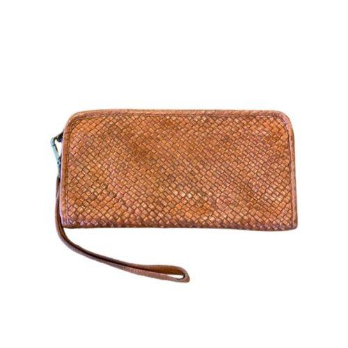 SIMO Woven Wrist Wallet Tan