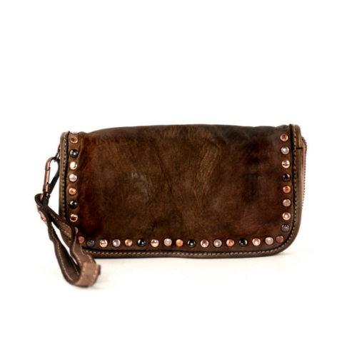 SIMONA Wrist Wallet With Studs Dark Brown