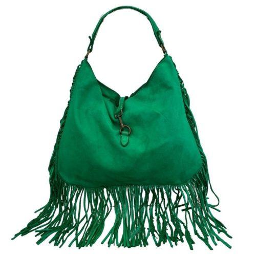 AMBRA Shoulder Bag With Fringes Emerald Green