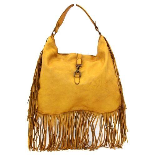 AMBRA Shoulder Bag With Fringes Mustard
