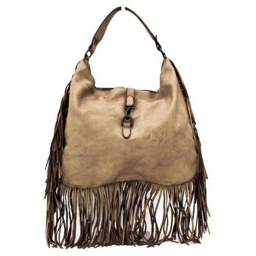 AMBRA Shoulder Bag With Fringes Light Taupe