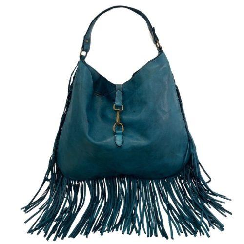 AMBRA Shoulder Bag With Fringes Teal