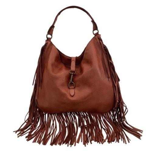 AMBRA Shoulder Bag With Fringes Terracotta