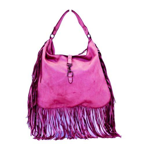 AMBRA Shoulder Bag With Fringes Fuchsia