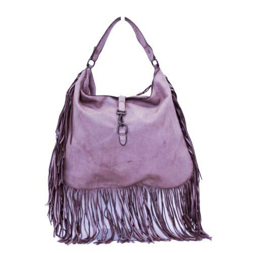 AMBRA Shoulder Bag With Fringes Lilac