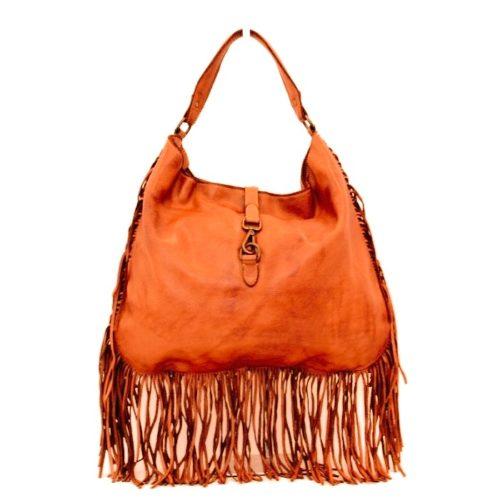 AMBRA Shoulder Bag With Fringes Orange
