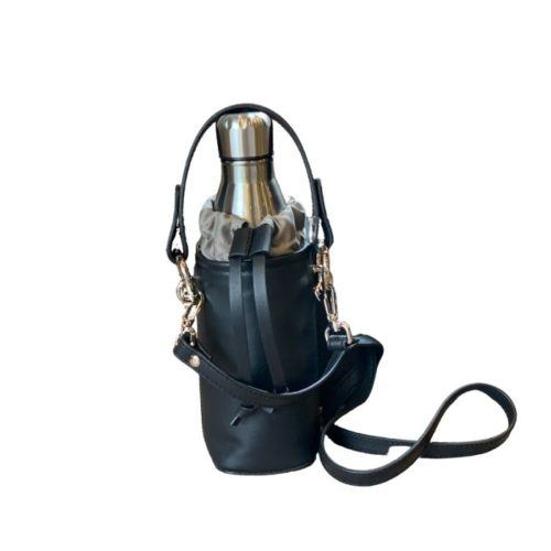 Leather Bottle Bag Black
