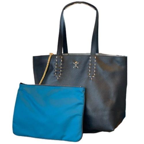 PATTY BIG Reversible Tote Bag Black/Teal