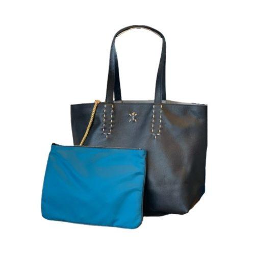 PATTY Reversible Tote Bag Black/Teal