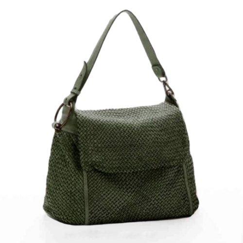 Priscilla Shoulder Bag Narrow Weave All Over Green